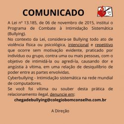 Comunicado – Combate ao Bullying